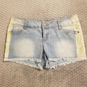 Rue21 Faded Denim Shorts with Yellow Sides